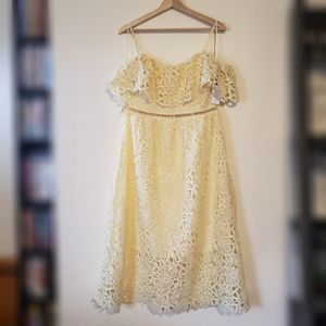 New! ASTR Pale Yellow Lace Dress